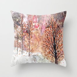 Blood Moon Skies over Snowy Dewdrop Holler Throw Pillow