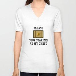 Stop Staring At My Chest Unisex V-Neck