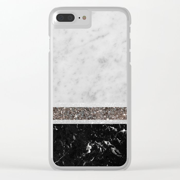 White and Black Marble Silver Glitter Stripe Glam #1 #minimal #decor #art #society6 Clear iPhone Case