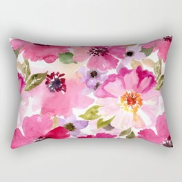 Watercolor Flowers Pink Fuchsia Rectangular Pillow