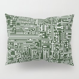Circuit Board // Green & White Pillow Sham