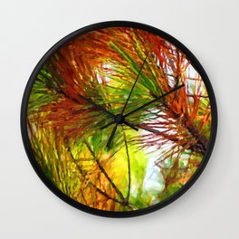 Pine branches with long and dense needles Wall Clock