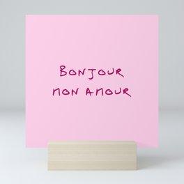 Bonjour mon amour - 1 pink Mini Art Print