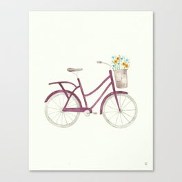 Purple Bicycle with Flower Basket Watercolor Canvas Print