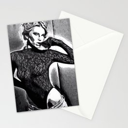 """""""Black Leotard"""" - A Black and White Erotic Semi-Nude Study of a Woman Undressing Wearing a Black Leotard.  Stationery Cards"""
