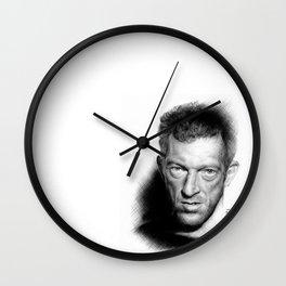 Vincent Cassel on ballpen B&W Wall Clock