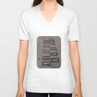 calendar V-neck T-shirts featuring Calendar Walk by Ethna Gillespie