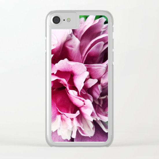 Big pink peony Clear iPhone Case