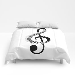 Treble clef sign with piano keyboard Comforters