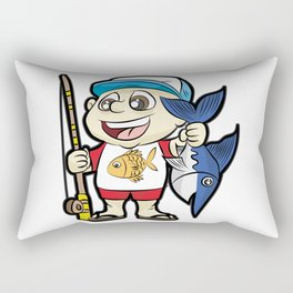 HAPPY FISHING KID with Rod and Swordfish Gift Rectangular Pillow