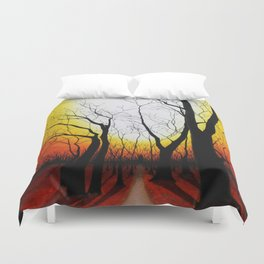 Sunset in the forest Duvet Cover