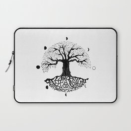 black and white tree of life with moon phases and celtic trinity knot II Laptop Sleeve