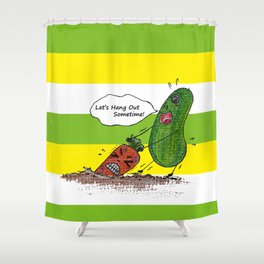Vegetables' daily life on Planet V 01  Shower Curtain