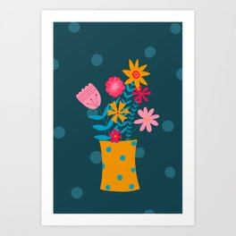 Spotty Flowers Art Print