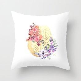 Floral Brain Anatomy  Throw Pillow