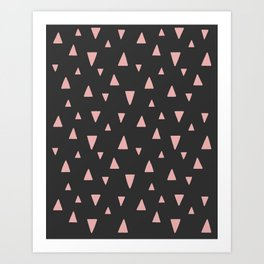 Abstract Triangles - Pink on Black Art Print