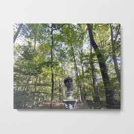 Roman Statue Bust in a Forest Metal Print