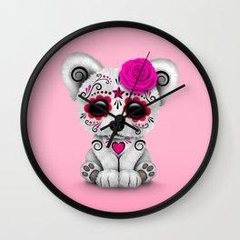 Pink Day of the Dead Sugar Skull Polar Bear Wall Clock