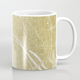 Paris France Minimal Street Map - Gold Foil Glitter Coffee Mug