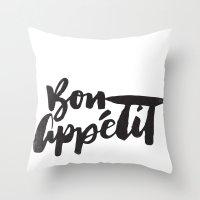 bon iver Throw Pillows featuring Bon Appétit by Matthew Taylor Wilson
