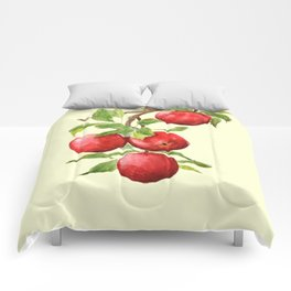 red apple in yellow background Comforters