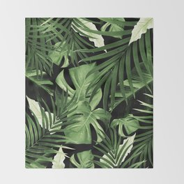 Tropical Jungle Night Leaves Pattern #5 #tropical #decor #art #society6 Throw Blanket
