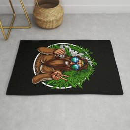 Bigfoot Hippie Smoking Weed Rug