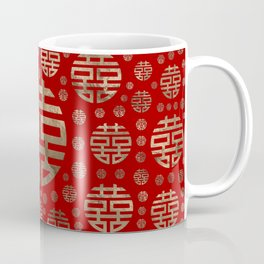 Double Happiness Symbol pattern - Gold on red Coffee Mug