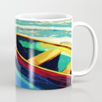 boats Mugs featuring Boats by Christina Rowe