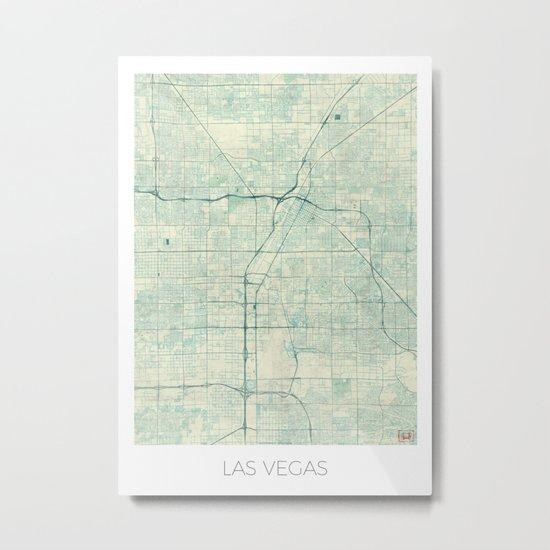 Las Vegas Map Blue Vintage Metal Print