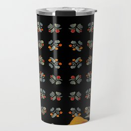 Atom Flowers #34 in orange and blue grey Travel Mug