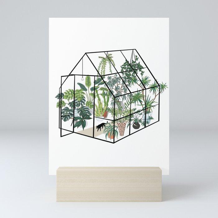 greenhouse with plants Mini Art Print
