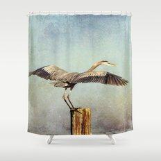 Blue Heron Landing Shower Curtain