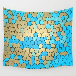 Turquoise and Gold Mosaic Wall Tapestry