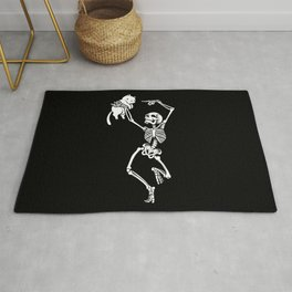 Dancing Skeleton With a Cat Rug