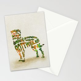 Rottweiler Dog Typography Art / Watercolor Painting Stationery Cards