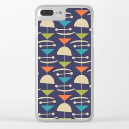 Retro Mid Century Modern Abstract Mobile 646 Blue Orange Olive and Beige Clear iPhone Case