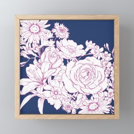 Flower Mix Sketch Framed Mini Art Print