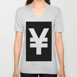 Yen Sign (White & Black) Unisex V-Neck