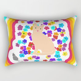 The Tale of the Orange Cat and a Mouse Against Flowers 80s Version Rectangular Pillow