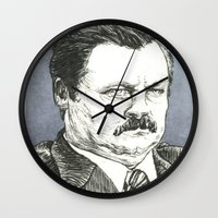 ron swanson Wall Clocks featuring Ron Swanson by Molly Morren