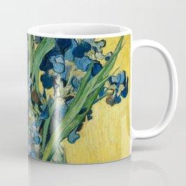 Still Life: Vase with Irises Against a Yellow Background Coffee Mug