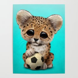 Leopard Cub With Football Soccer Ball Poster