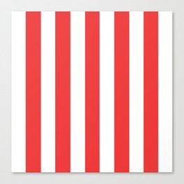 Vivaldi Red - solid color - white vertical lines pattern Canvas Print