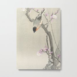 Bird Sitting on a Blossomed Peach Tree - Vintage Japanese Woodblock Print Art Metal Print