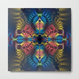 Mirrored abstract with tribal patterns and warm colors Metal Print
