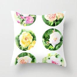 English Roses circle Throw Pillow