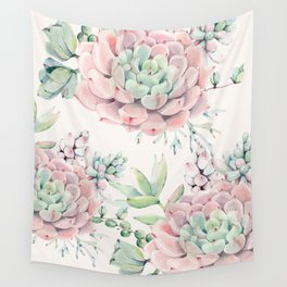 Pink Succulents on Cream Wall Tapestry