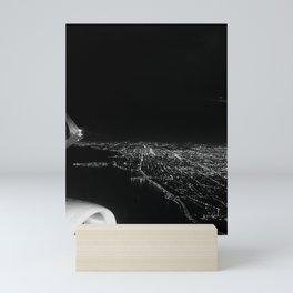 Chicago Skyline. Airplane. View From Plane. Chicago Nighttime. City Skyline. Jodilynpaintings Mini Art Print