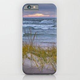 Lake Michigan Dune with Beach Grass at Sunset iPhone Case